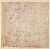 Study of a Head, 1525-26 (black chalk on paper) (verso) (for recto see 191779) mural wallpaper thumbnail