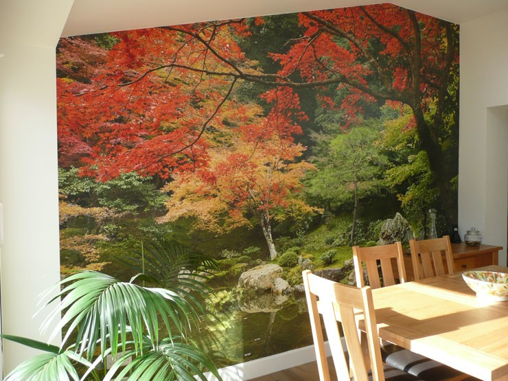 autumnal japanese garden with pond wall mural in pine wooden dining room