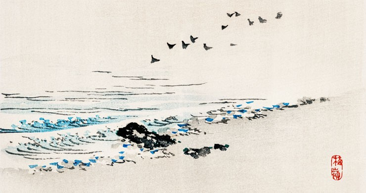 minimalist japanese art of beach and birds wallpaper