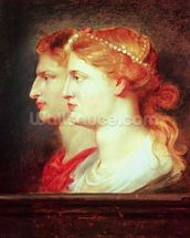 Tiberius (42BC-37AD) and Agrippina, c.1614 (oil on panel) wall mural thumbnail