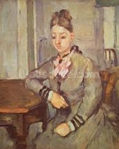Madame Cezanne Leaning on a Table, 1873-77 (oil on canvas) mural wallpaper thumbnail