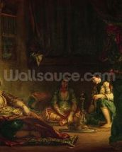 The Women of Algiers in their Harem, 1847-49 (oil on canvas) wall mural thumbnail