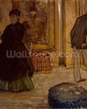 Interior with Two Figures, 1869 (oil on canvas) wall mural thumbnail