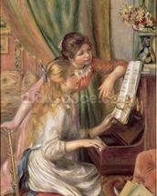 Young Girls at the Piano, 1892 (oil on canvas) mural wallpaper thumbnail