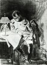 Napoleon studying his maps by lamplight, c.1800 (india ink) wall mural thumbnail