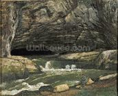 The Source of the Loue or La Grotte Sarrazine (oil on canvas) wallpaper mural thumbnail