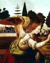 Angel Gabriel, detail from the Annunciation, 1472-75 (oil on panel) (detail of 140570) mural wallpaper thumbnail