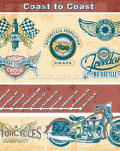 Vintage Motocycle Illustration wall mural thumbnail