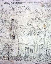 Cottage at East Bergholt (drawing) wallpaper mural thumbnail