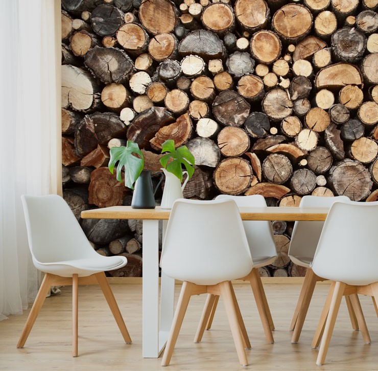 stacked log wallpaper in dining room