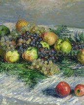 Still Life with Pears and Grapes, 1880 (oil on canvas) wall mural thumbnail