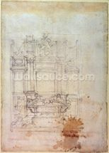 Inv. L859 6-25-823. R. (W.27) Design for a tomb (red chalk) wall mural thumbnail