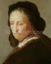 Portrait of an old Woman, c.1600-1700 (oil on panel) wallpaper mural thumbnail