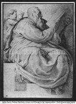 The Prophet Zacharias, after Michangelo Buonarroti (1475-1564) (pierre noire & red chalk on paper) wallpaper mural thumbnail