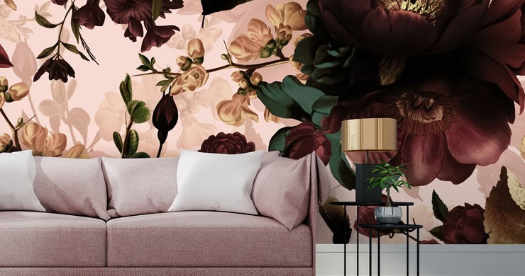 blush pink background with illustrated maroon flowers in pink lounge
