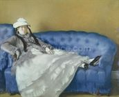 Madame Manet on a Blue Sofa, 1874 (pastel on paper) mural wallpaper thumbnail