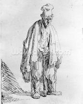 Beggar in a high cap, c.1630 (etching) wallpaper mural thumbnail