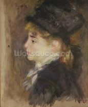 Portrait of a woman, possibly Margot, c.1876-78 (oil on canvas) wall mural thumbnail