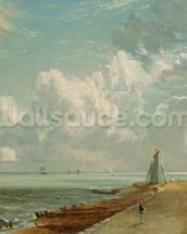 Harwich, The Low Lighthouse and Beacon Hill, c.1820 (oil on canvas) mural wallpaper thumbnail