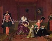 Henri IV (1553-1610) King of France and Navarre Playing with his Children as the Ambassador of Spain Makes his Entrance, 1817 (oil on canvas) wallpaper mural thumbnail