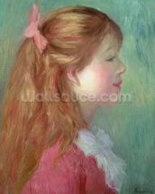 Young girl with Long hair in profile, 1890 wall mural thumbnail