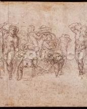 Study of Figures for a Narrative Scene (black chalk on paper) (recto) (for verso see 191764) wall mural thumbnail