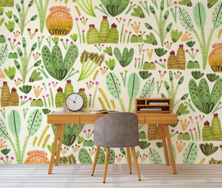 home office with watercolour paintings of cactus wallpaper