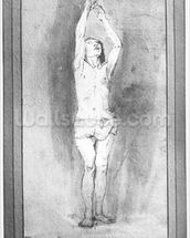 Young boy with a loincloth, both hands hanged on a small bar (pen, brown ink & wash on paper) (b/w photo) mural wallpaper thumbnail