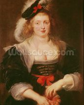Portrait of Helene Fourment with gloves, c.1632 (oil on panel) mural wallpaper thumbnail