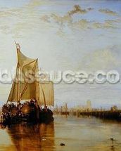 Dort or Dordrecht: The Dort Packet-Boat from Rotterdam Becalmed, 1817-18 (oil on canvas) wall mural thumbnail