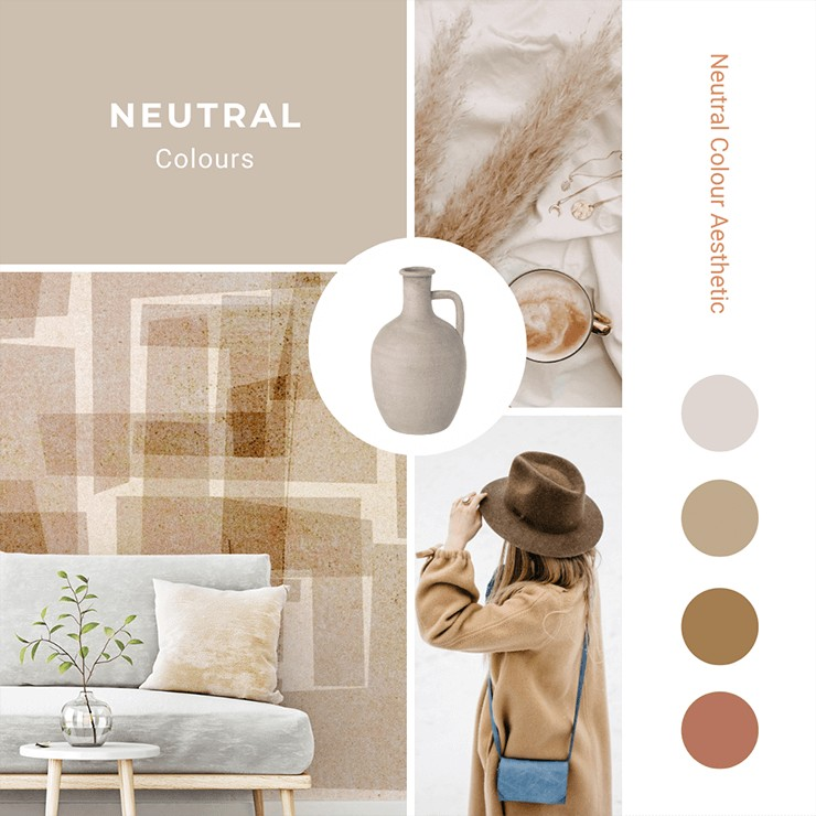 a mood board with neutral decor pictures