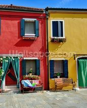Colourful Burano Island Houses wall mural thumbnail
