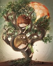 Born by a Tree mural wallpaper thumbnail