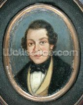Miniature: Portrait of Abram Constable (1783-1862), brother of the artist (oil on board) mural wallpaper thumbnail