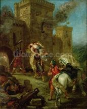 Rebecca Kidnapped by the Templar, Sir Brian de Bois-Guilbert, 1858 (oil on canvas) wall mural thumbnail