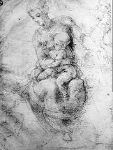 Virgin and Child (pencil on paper) (b/w photo) mural wallpaper thumbnail