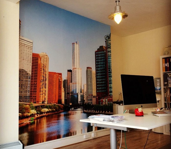 Chicago mural in home office