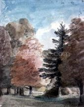 Study of Trees in a Park (watercolour) wall mural thumbnail