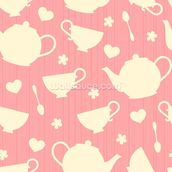 Tea Time - Pink wall mural thumbnail