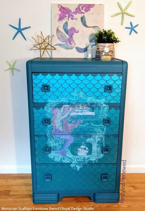 shiny blue dresser with mermaid scales