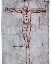 Christ on the Cross (red chalk on paper) mural wallpaper thumbnail