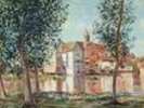 The Loing at Moret, September Morning (oil on canvas) wall mural thumbnail