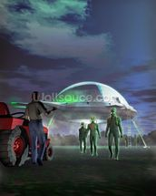 UFO Abduction wall mural thumbnail