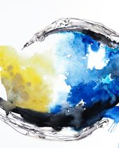 Watercolour Abstract Painting with a Fish Shape mural wallpaper thumbnail