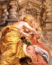 Peace Embracing Plenty, 1633-34 (oil on panel) wall mural thumbnail