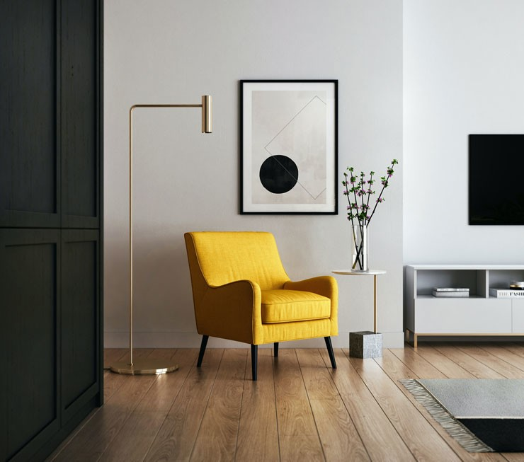 mustard chair and black decor room