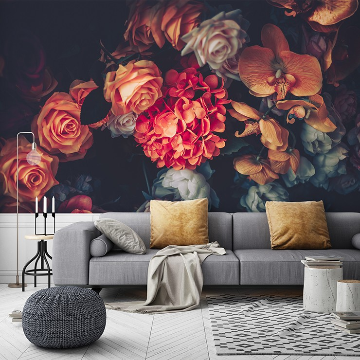 dark floral wallpaper in romantic lounge