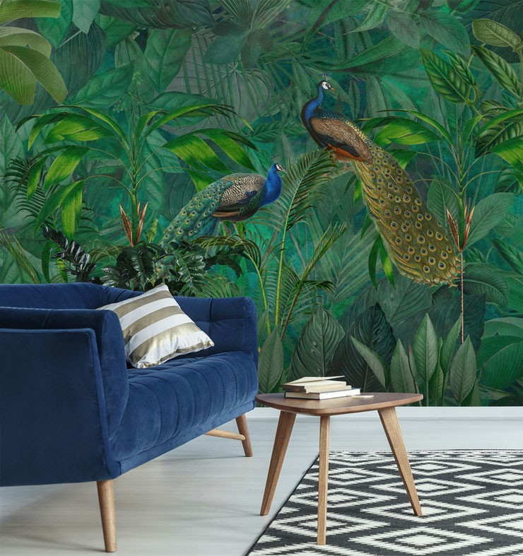 dark green and blue jungle with peacocks wallpaper in trendy lounge
