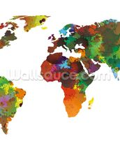 World map Water Colours mural wallpaper thumbnail