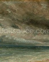 The Coast at Brighton - Stormy Evening, c.1828 (oil on paper laid on canvas) mural wallpaper thumbnail